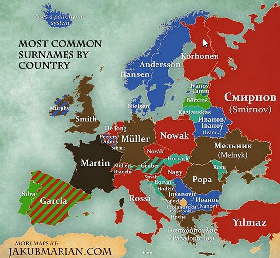 Quels sont les patronymes les plus usités en Europe ?